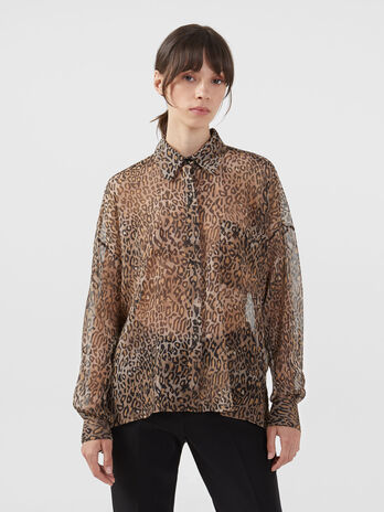 Georgette shirt with animalier print