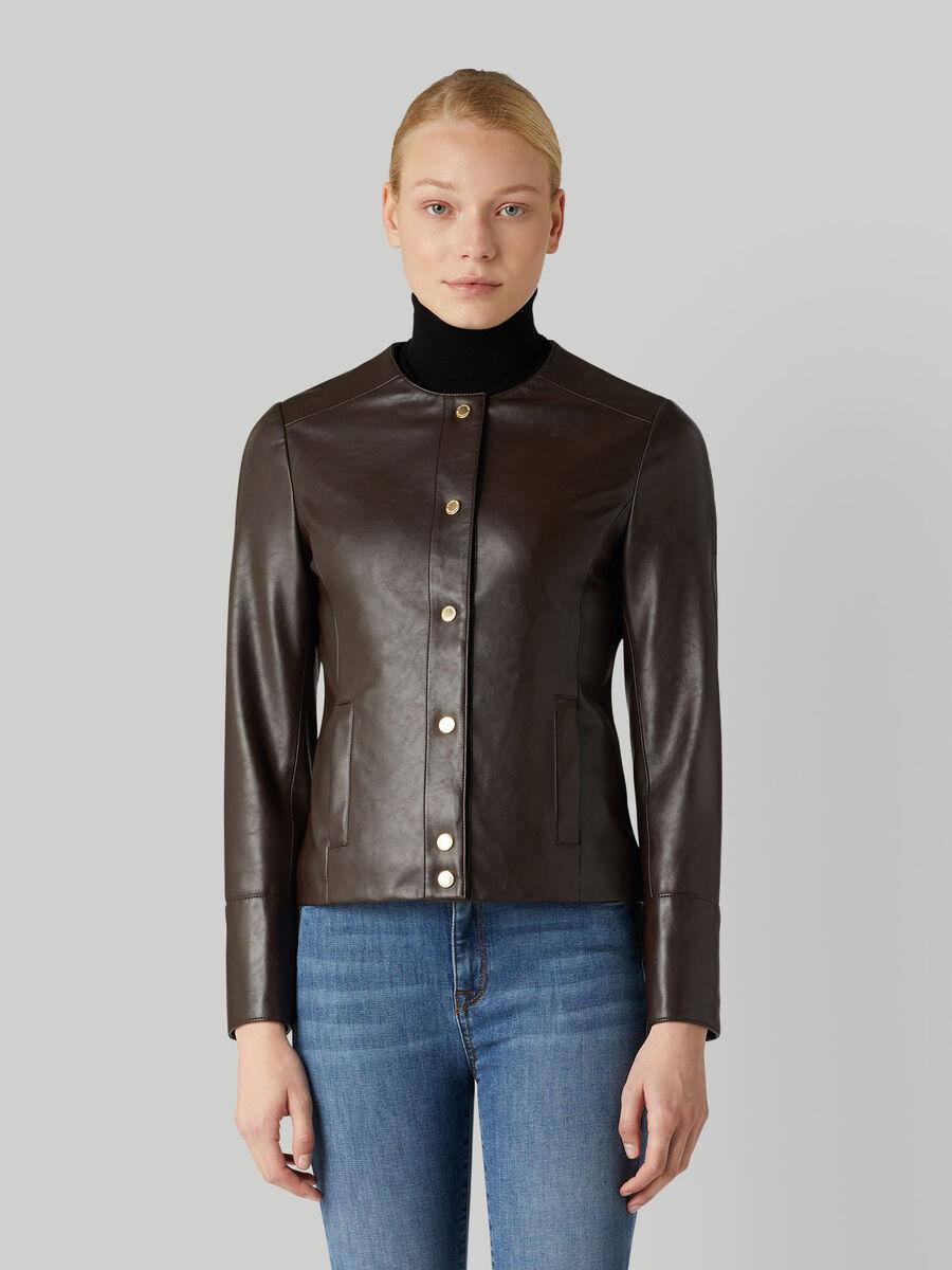 Plain jacket with crew neck