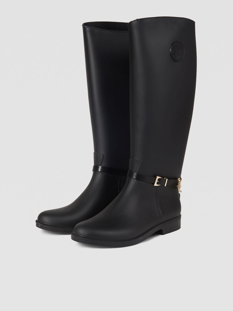 Rubber rain boots with charm detail