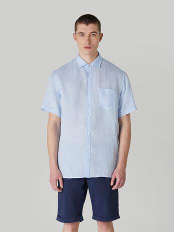 Hemd im Close-Fit aus garngefaerbtem Leinen