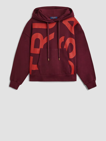 Cotton hoody with maxi print