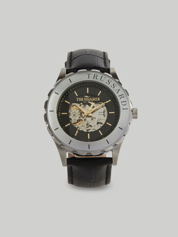 43-mm T-Logo watch with leather strap
