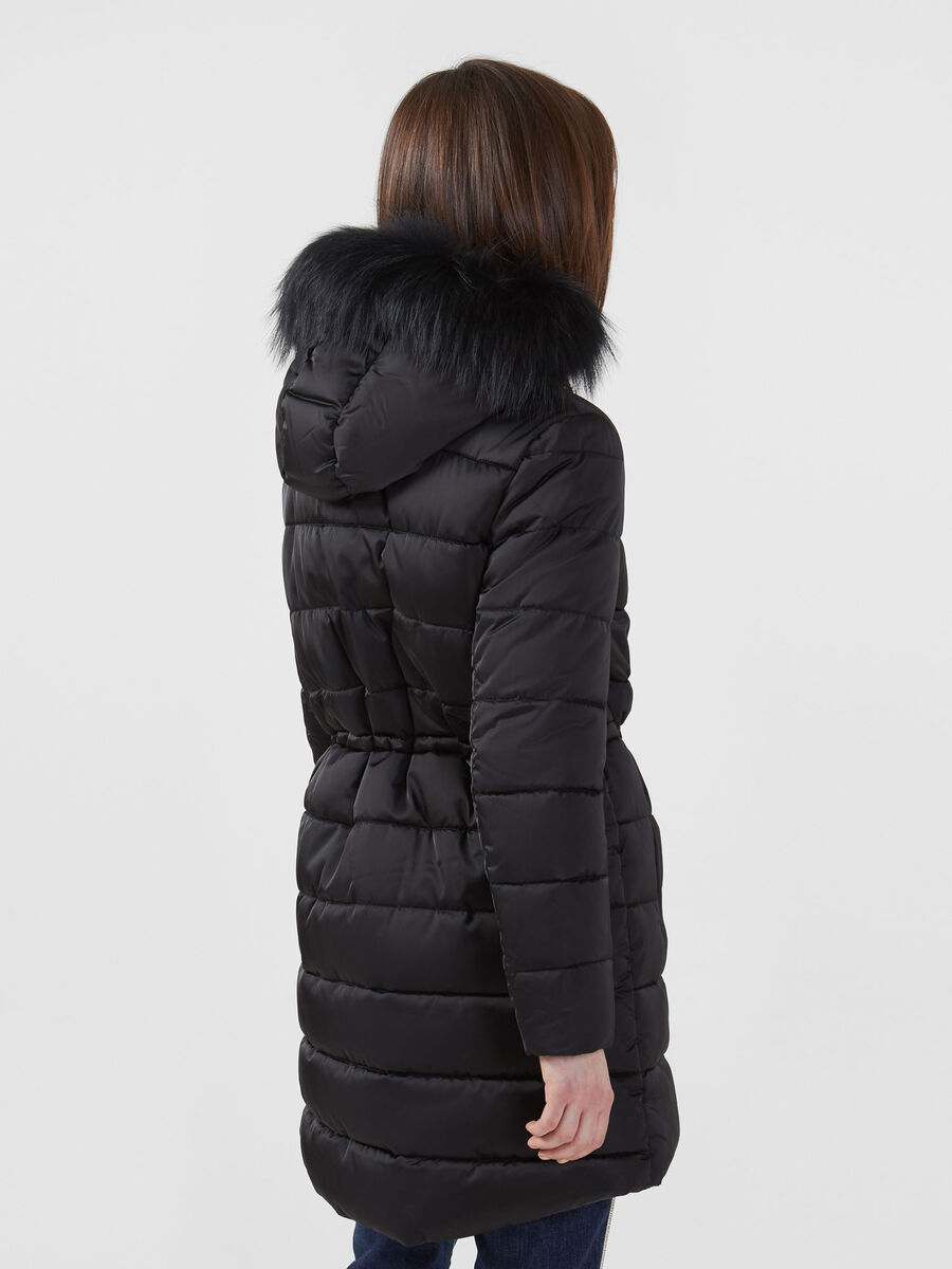 Parka regular fit in satin nylon con pelliccia
