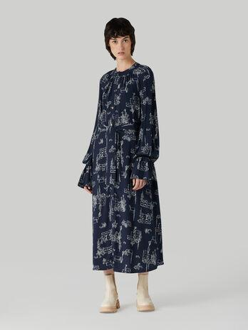 Viscose dress with travel print