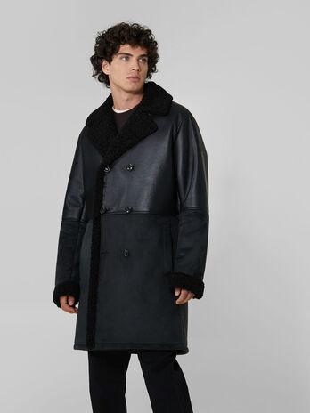 Faux shearling midi coat