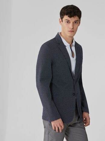 Slim-fit blazer in cross-patterned jersey