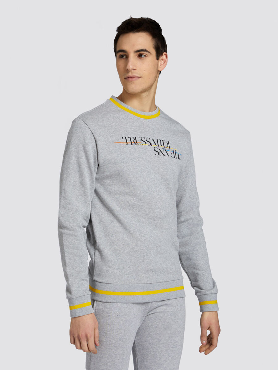Cotton sweatshirt with lettering and monochrome bands