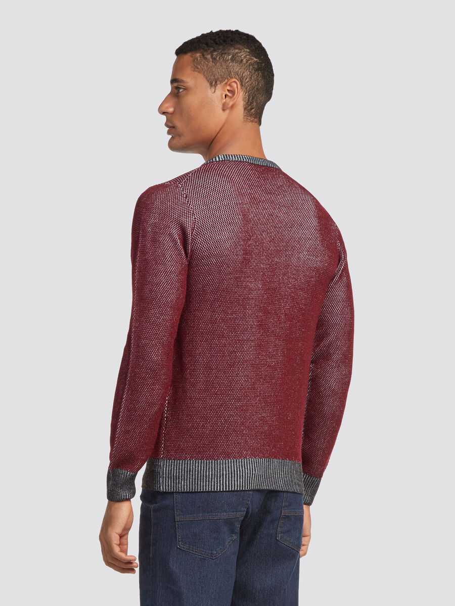 Regular fit wool blend pullover with fine rib detailing