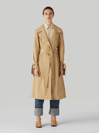 Technical fabric overcoat with hood