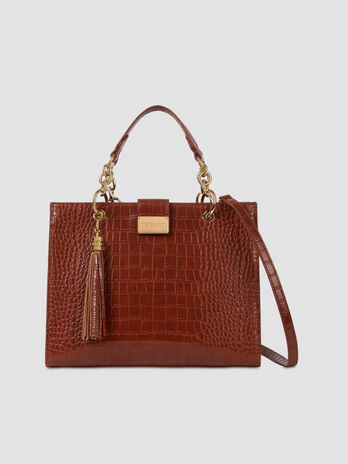 Large top handle bag with crocodile print faux leather