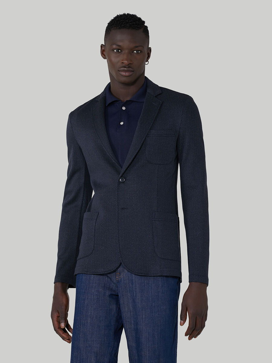 Blazer slim fit in jersey di viscosa