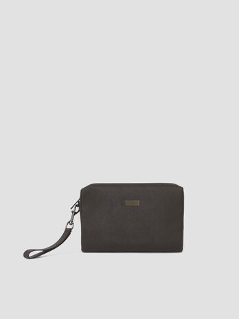 Faux saffiano leather clutch with zip
