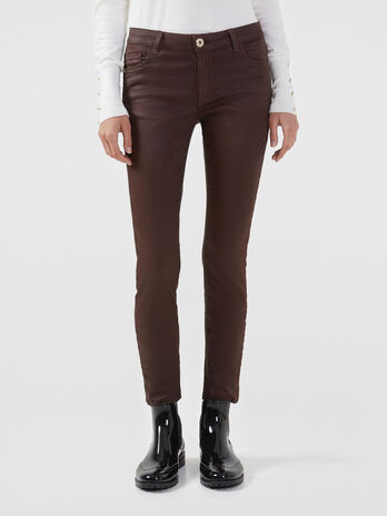 Pantalon 206 super skinny en similicuir satine