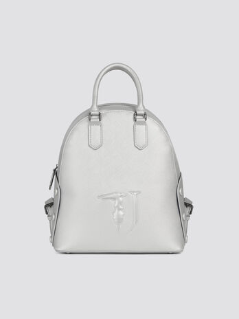 Solid colour faux leather Melissa backpack with stone