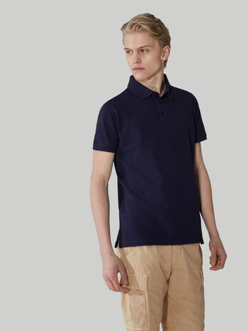 Solid-colour cotton pique polo-shirt