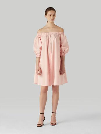 Vestido hombros al aire de popelina de algodon