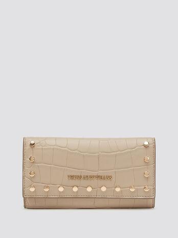 Studded python print purse