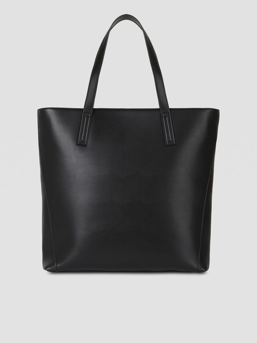 Large shopper in studded faux leather