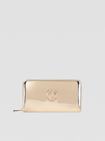Alba zip-around purse in mirrored faux leather