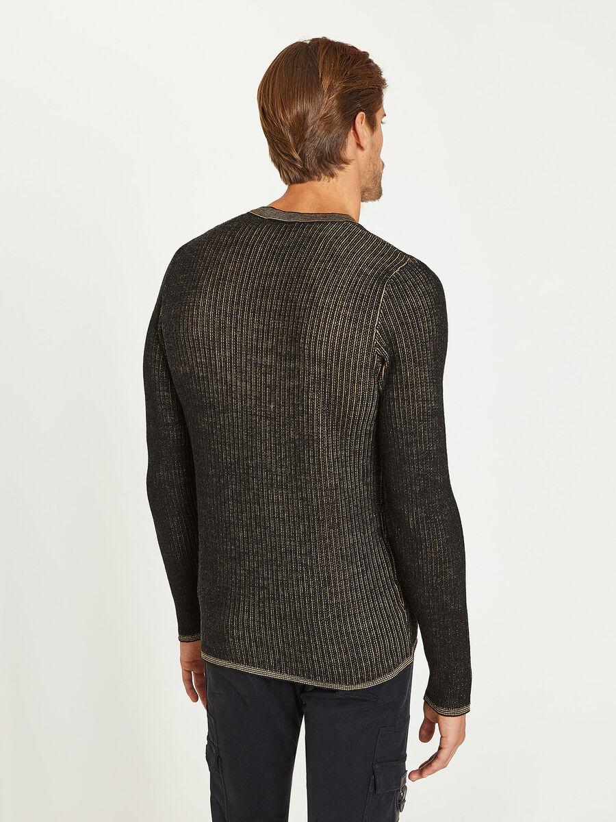 Maglione bicolor con scollo rotondo