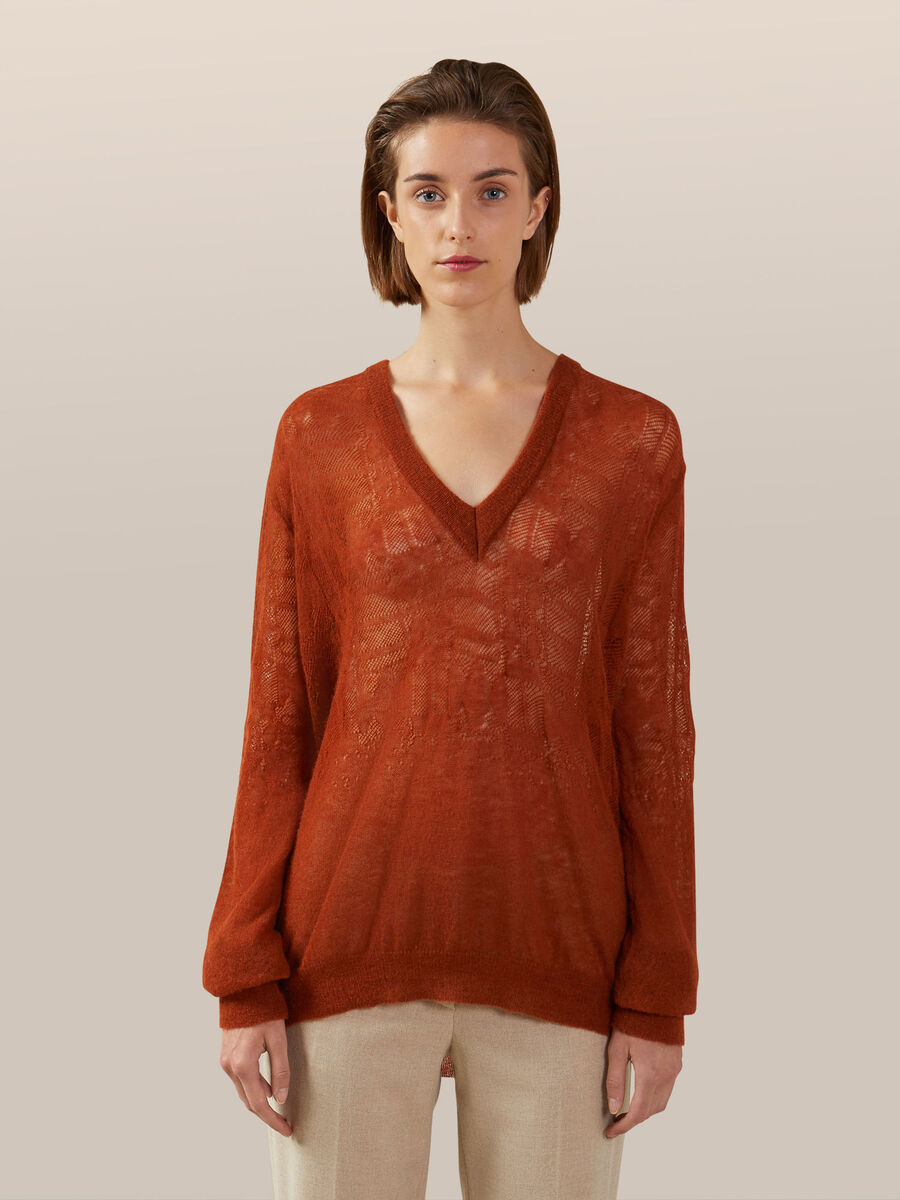 V neck pullover in soft mohair