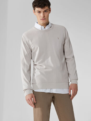 Pure cotton crew-neck pullover