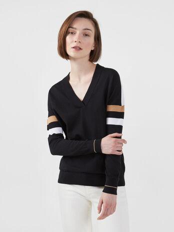 Pull en coton et soie a rayures contrastantes