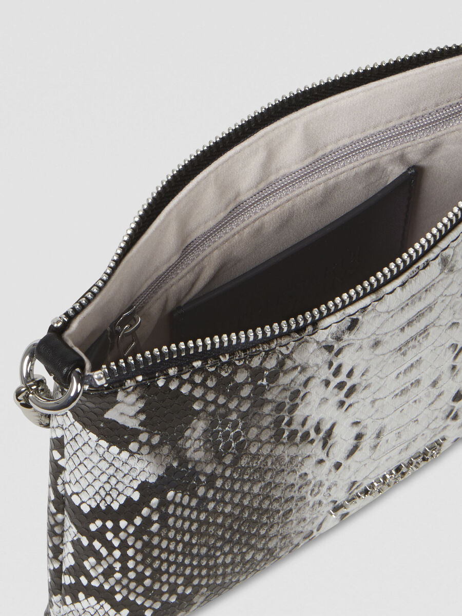 Iris pouch in python-print faux leather