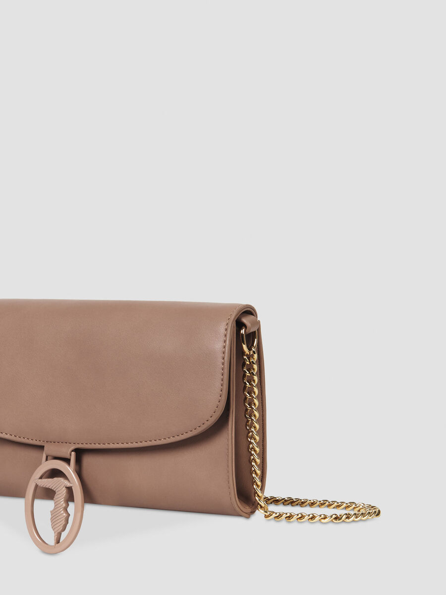 Solid colour smooth faux leather clutch