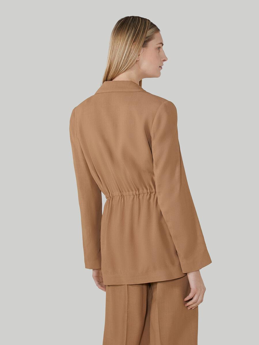 Viscose fabric blazer with drawstring