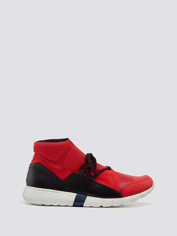 High top running sneakers in neoprene with laces