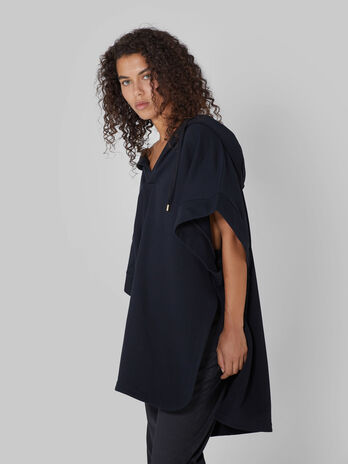 Oversized cotton hoody with side slits