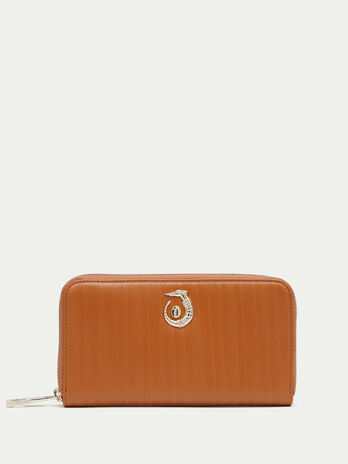 Striped leather Lovy wallet with zip