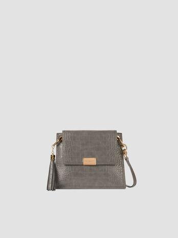 Small crossbody bag in crocodile print faux leather
