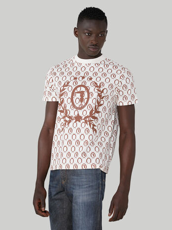 Boxy T-shirt in printed pure cotton