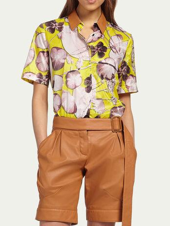 Floral silk crepe de chine shirt