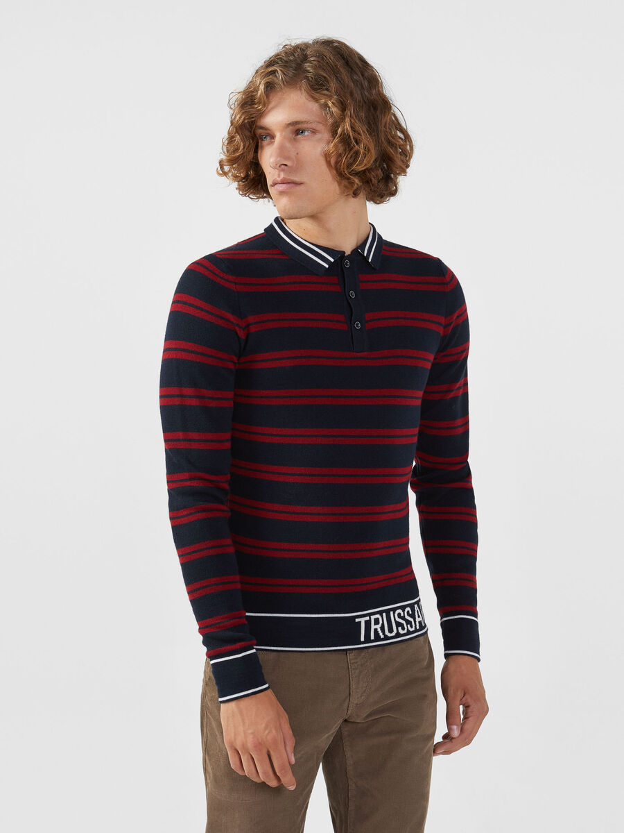 Regular fit striped wool blend polo shirt