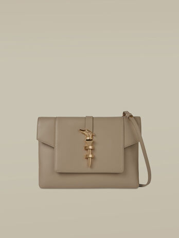 Medium Leila clutch in smooth leather
