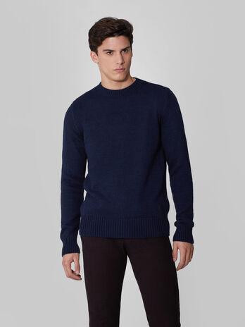 Regular fit crew neck wool and alpaca pullover
