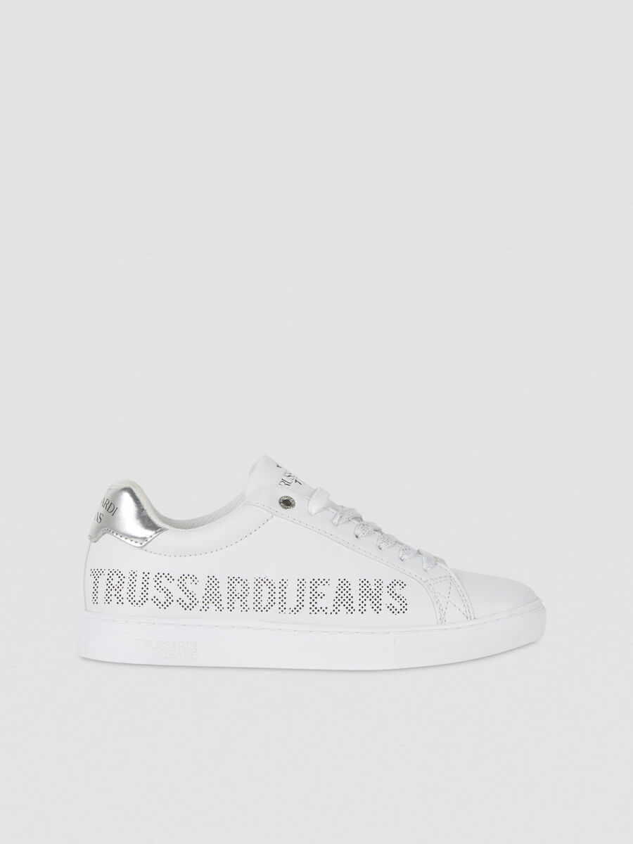 Faux leather sneakers with micro-perforated logo