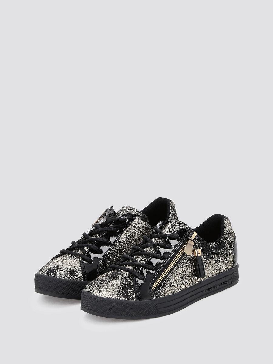 Sneakers con film pitonato glitterato
