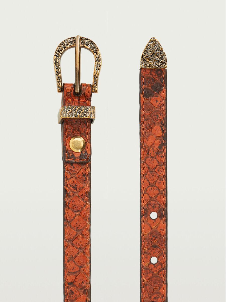 Leather python effect belt