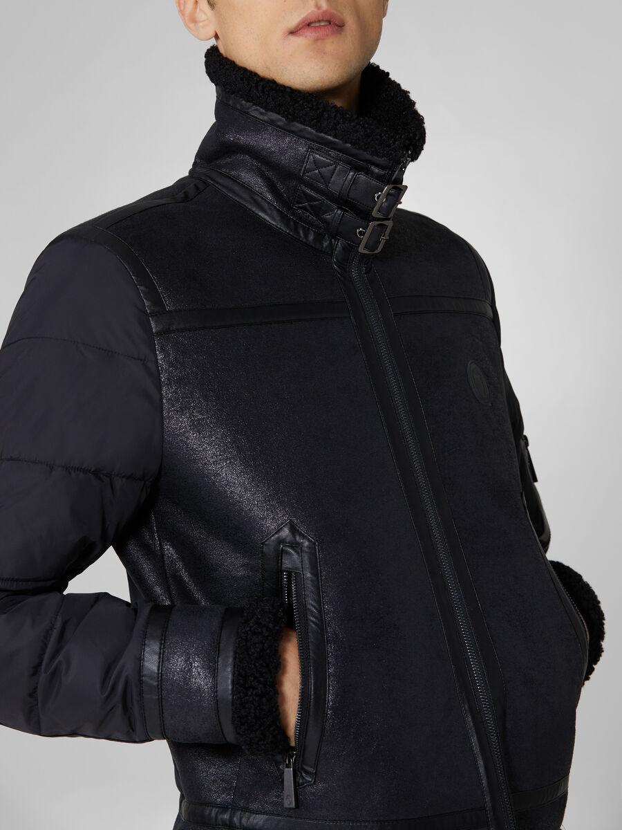 Nylon and faux shearling jacket