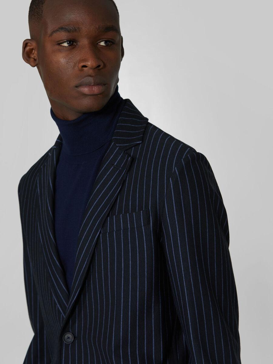 Slim fit pin stripe jersey blazer