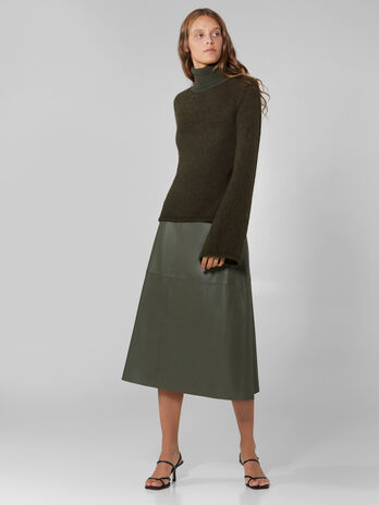 Soft faux leather midi skirt