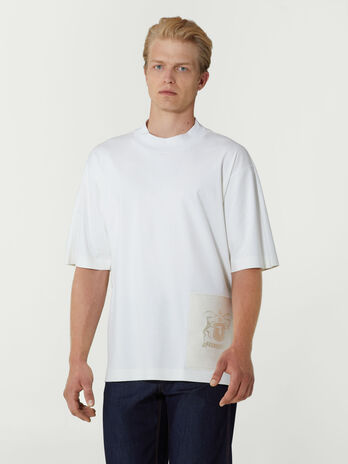 Oversized cotton T-shirt with tonal patch