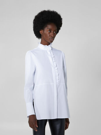 Stretch poplin shirt with ruches