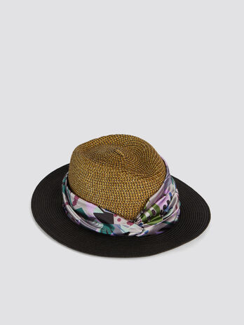 Two tone hat with decorative floral band