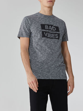 Regular-fit printed cotton and linen T-shirt