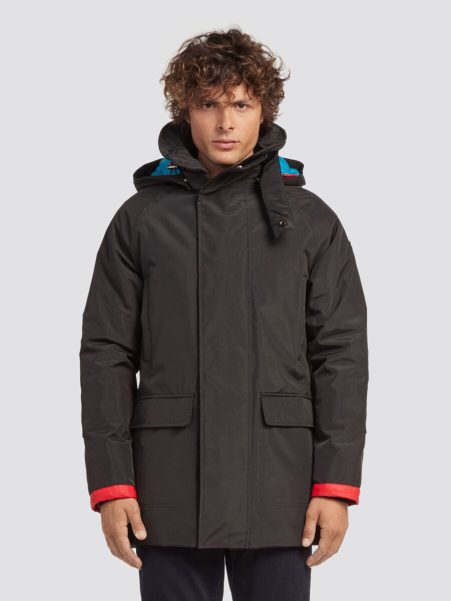 Regular fit parka in technical nylon